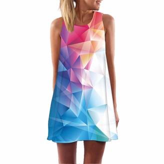 Ulanda Dresses Womens Dress Summer Casual T Shirt Dresses Boho Sleeveless Floral Printed Beach Cover up Casual T-Shirt Short Dress - Multicoloured - Small