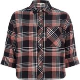 River Island Womens Pink check cropped shirt