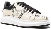 Alexander McQueen Moth Print Platform Leather Sneakers