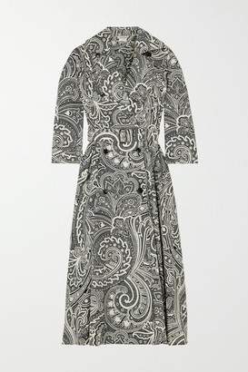 Max Mara Addobbo Belted Double-breasted Paisley-print Cotton Dress - Black