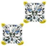 Natural Diamonds of NYC 0.54 ct Ladies Princess Cut Diamond Stud Earrins In 14 Karat Yellow old Screw Back