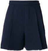 Thom Browne Double-Pleat Shorts With Fray In Navy Herringbone Shetland