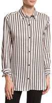 Isabel Marant Manray Striped Button-Down Blouse, Black/Red