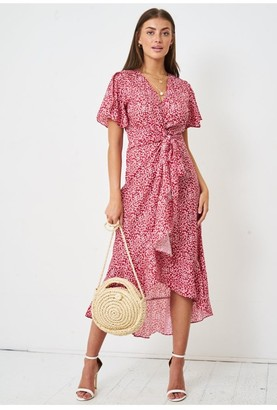 Love Frontrow Floral Ditsy Print Short Sleeve Wrap Dress | Red