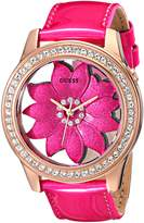 GUESS GUESS? Women's U0534L3 Floral Watch with Rose Gold-Tone Case & Genuine Patent Leather Strap