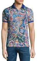 Etro Paisley Polo Shirt, Blue/Multicolor