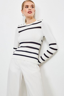 Karen Millen Nautical Sheer Stripe Knit Jumper