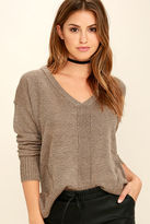 Lush Staying In Light Brown Sweater Top