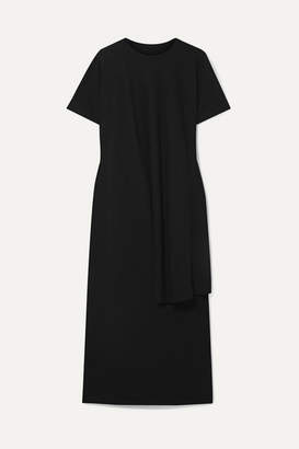 MM6 MAISON MARGIELA Draped Cotton-jersey Midi Dress - Black