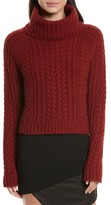 Alice + Olivia Women's Tobin Cable Knit Crop Turtleneck Sweater