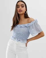 Fashion Union bardot ruched crop top in gingham
