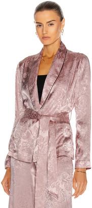 Fleur Du Mal Fleur Jacquard Smoking Jacket in Rose Pink | FWRD
