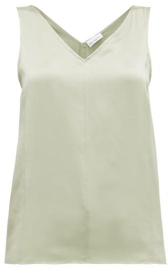 Raey High V-neck Silk Cami Top - Light Green
