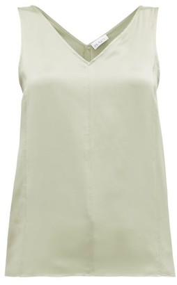 Raey High V-neck Silk Cami Top - Light Green
