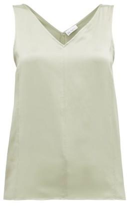 Raey High V-neck Silk Cami Top - Womens - Light Green
