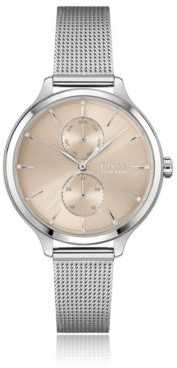 HUGO BOSS Mesh-bracelet watch with silver finish and Swarovski crystals