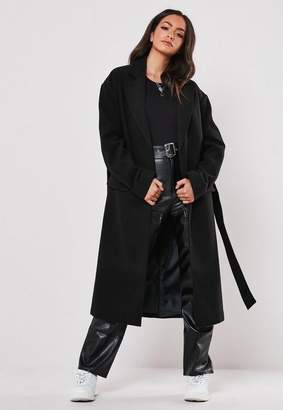 Missguided Black Belted Formal Maxi Coat