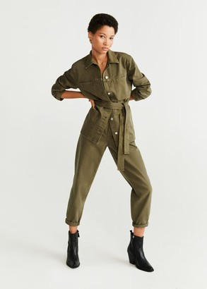 MANGO Denim cotton jacket khaki - XS - Women