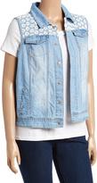 Live A Little Bleach Denim Lace-Trim Snap-Up Vest - Plus