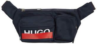 HUGO Navy Logo Multi-Pocket Belt Bag