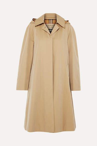 Burberry Oversized Hooded Cotton-gabardine Trench Coat
