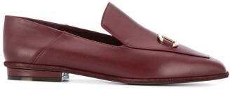 Salvatore Ferragamo Logo Plaque Leather Loafers