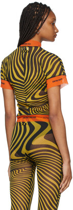 Jean Paul Gaultier SSENSE Exclusive Yellow Ottolinger Edition Tulle Striped T-Shirt