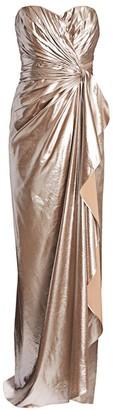Rene Ruiz Collection Metallic Strapless Silk Gown