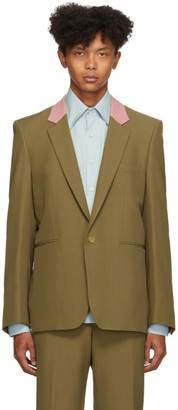 Paul Smith Brown Contrast Collar Single-Button Blazer