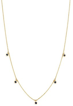 Bloomingdale's Blue Sapphhire Bezel Set Station Necklace in 14K Yellow Gold, 18 - 100% Exclusive