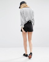 Dr. Denim High Waist Ripped Denim Shorts With Roll Up Hem