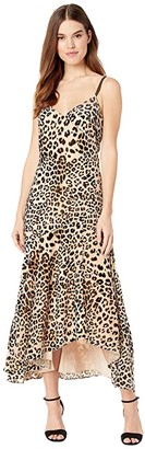 Nicole Miller Leopard Burnout V-Neck Dress (Multi) Women's Clothing