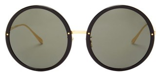 Linda Farrow Kew Round Acetate And Metal Sunglasses - Black Gold