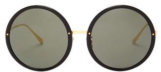 Linda Farrow Kew Round Acetate And Metal Sunglasses - Womens - Black Gold