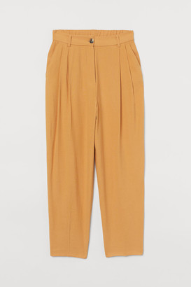 H&M Fitted Twill Pants - Yellow