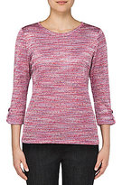 Allison Daley Petites 3/4 Roll-Tab Sleeve Space-Dye Knit Top
