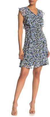 Tommy Hilfiger Floral Print Ruffle Cap Sleeve Dress