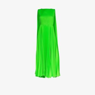 Valentino Pleated Neon Cape Gown