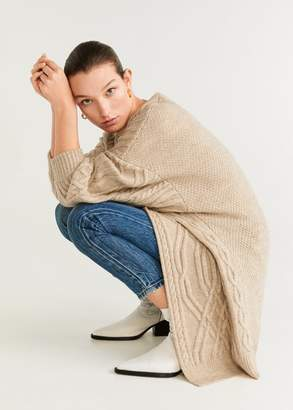 MANGO Knitted braided cardigan light/pastel grey - XS - Women