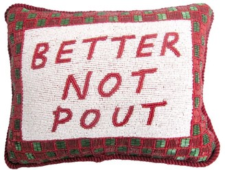 Sudha Pennathur Better Not Pout Hand Embroidered Beaded Pillow
