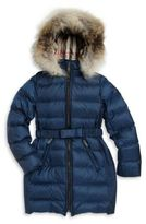 Burberry Little Girl's Catherine Fox Fur-Trim Down Puffer Coat