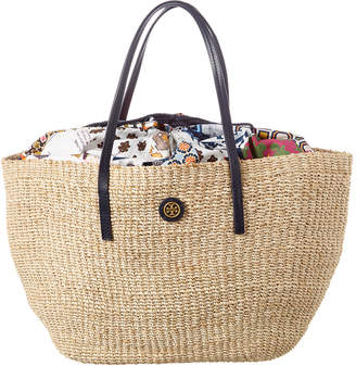 Tory Burch Straw & Canvas Beach Tote