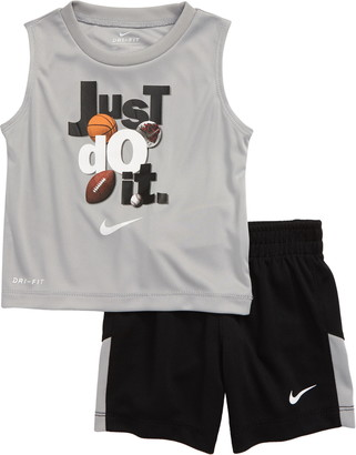 Nike Dri-FIT Just Do It Graphic Muscle Tee & Shorts Set