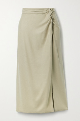 Vince Knotted Flannel Midi Skirt