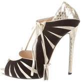 Chrissie Morris Metallic Wrap-Around Pumps
