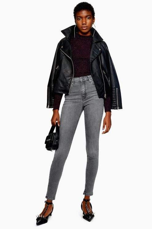 Topshop Womens Grey Jamie Jeans