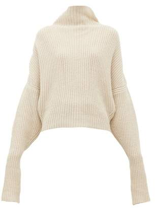 Petar Petrov Kate Funnel Neck Ribbed Cashmere Sweater - Womens - Beige