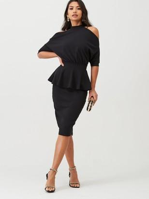 boohoo High Neck Cut Out Shoulder Peplum Dress - Black