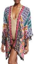 Trina Turk Golden-Medallion Open-Front Challis Kimono Coverup
