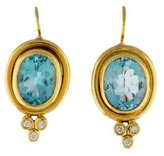 Temple St. Clair 18K Diamond & Aquamarine Classic Color Earrings
